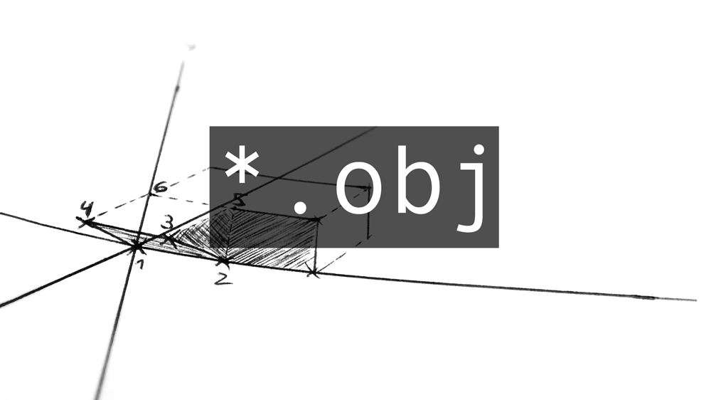 SKetch of a 3d coordinate system with the file extension *.obj on top
