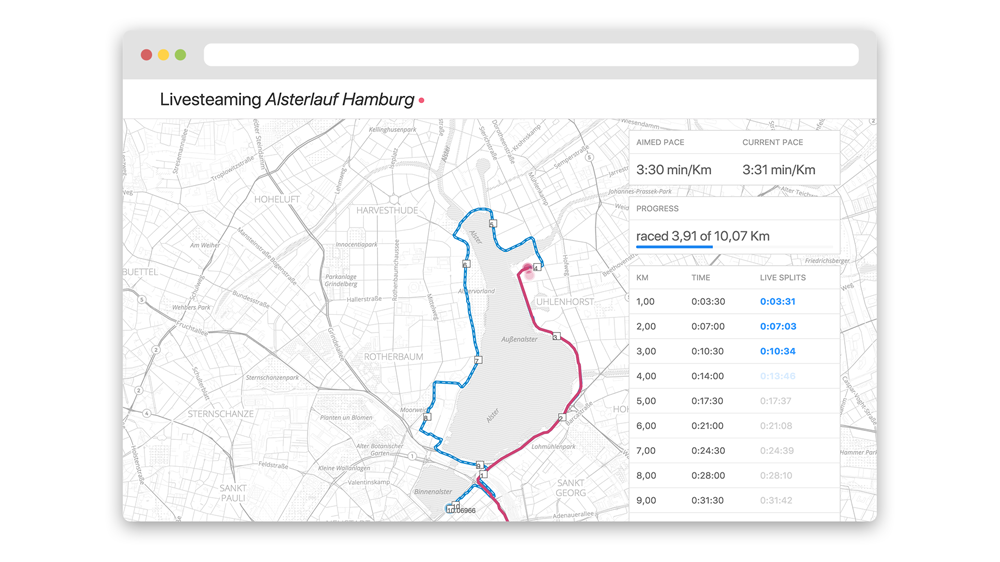 Screenshot of a conceptual web application for tracking running events. It shows a map with the running course and the position of the runner. Also it has a sidebar with a lot of running metrics like splits and pace information.