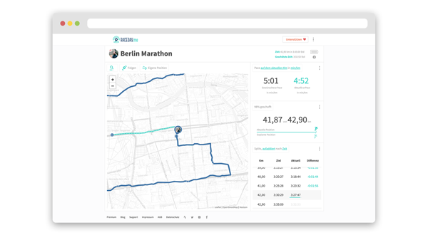 screenshot of the racerday.me website that shows a demo of a marathon live tracking
