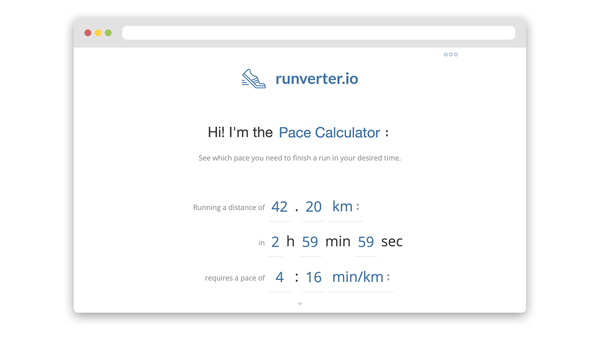 screenshot of the runverter.io website that shows a pace calculator