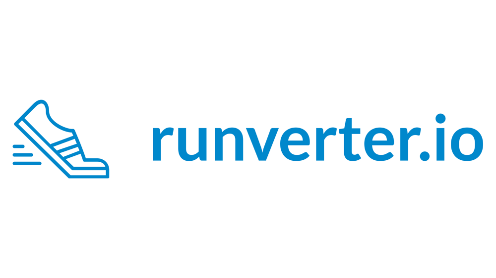 The Runverter logo. It shows a little running shoe icon followed by the text runverter.io